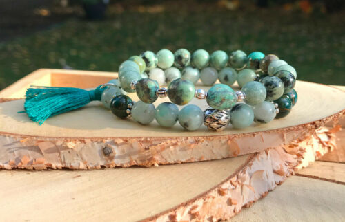 Lotus Quaste Armband Set Jade Achat Jaspis Türkis 8mm Silber Mala Armband