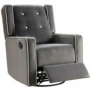 Cool Details About Nursery Rocker Recliner Swivel Mommy Chair Microfiber Gray Gliders Seating Dailytribune Chair Design For Home Dailytribuneorg