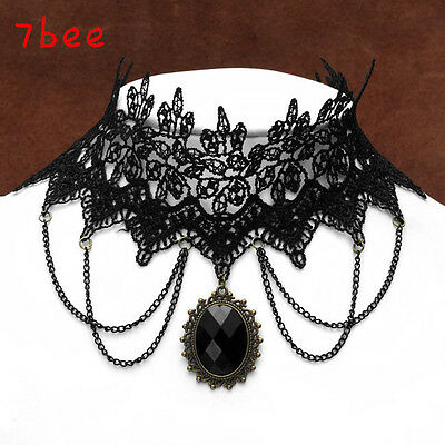 Hot Fashion Punk Vintage Collar Beaded Baroque Gothic Lace Choker Chain Necklace