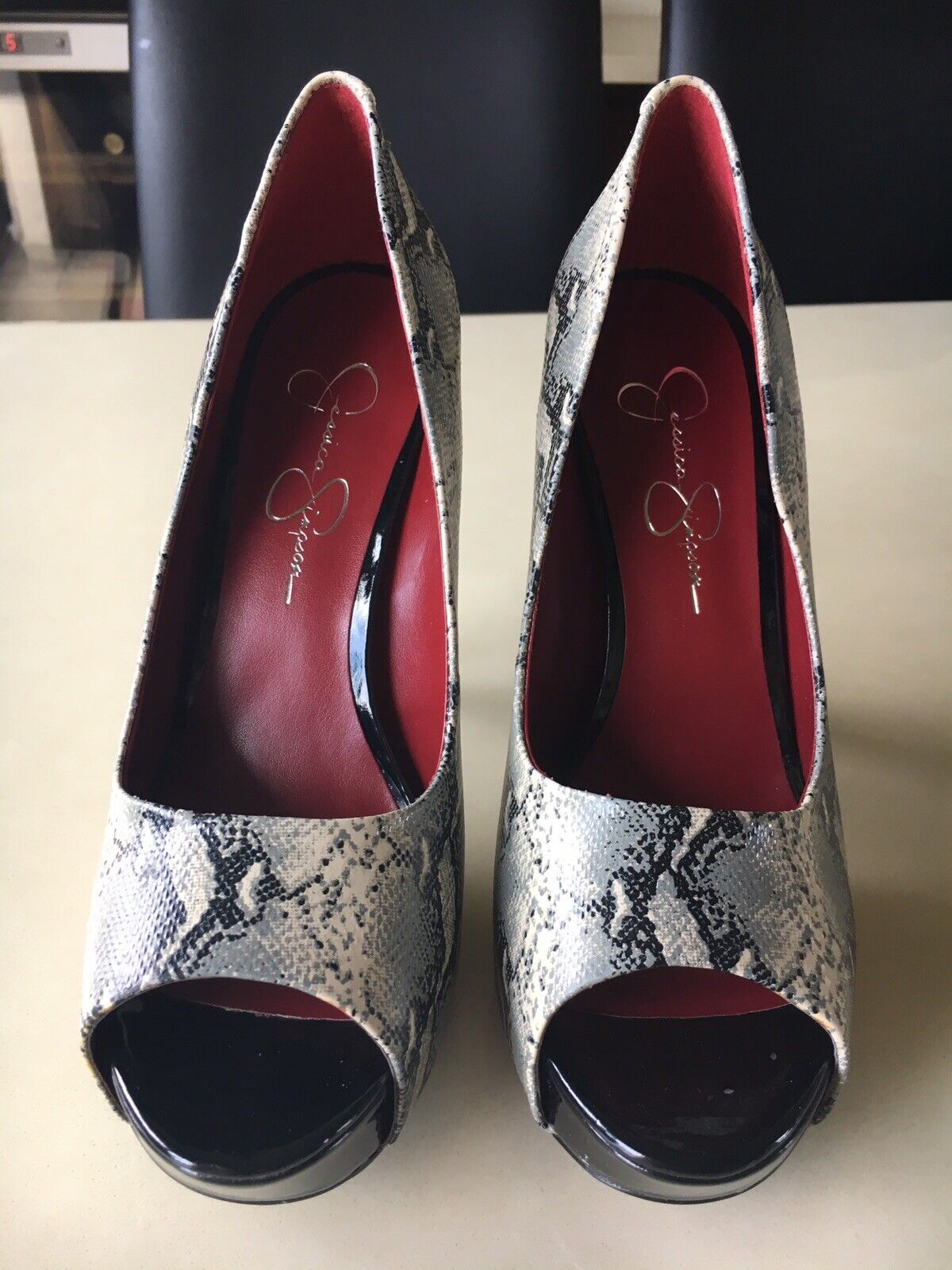 a74f0a635be2d Simpson Snake print peeptoe shoes size 6 with Black heels.New with ...