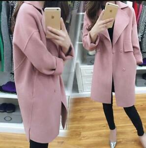 Womens-Long-Wool-Blend-Outwear-Trench-Loose-Casual-Jacket-Overcoat-Plus-Size-New