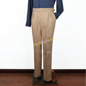 Gurkha-Pants-Vintage-UK-Army-Men-039-s-Casual-Pleated-Adjustable-Waist-Trousers-2019