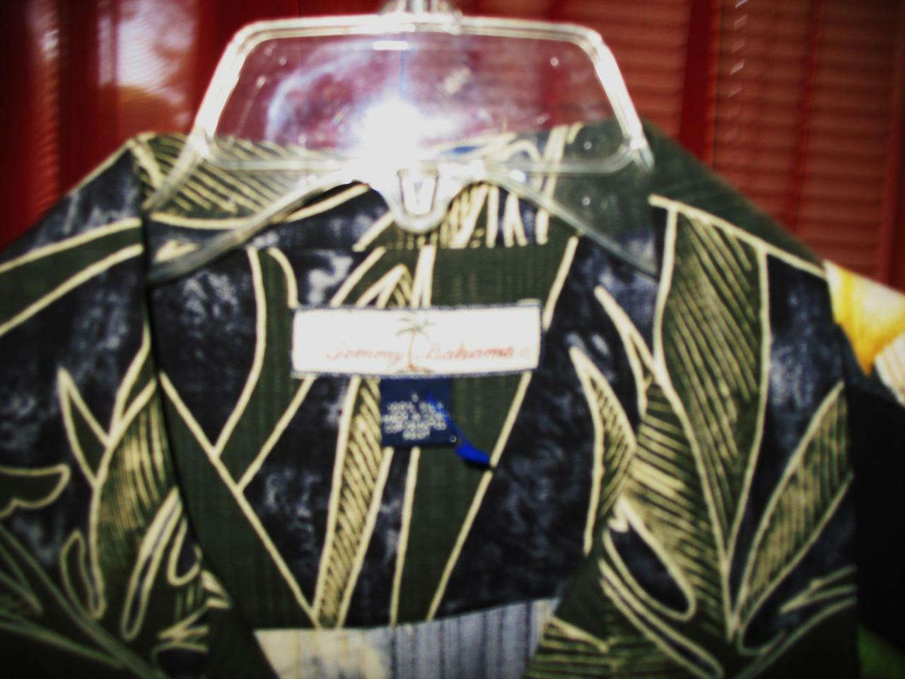 TOMMY BAHAMA HAWAIIAN SHIRT 3 TROPICAL FLOWERS PATCH PATCH FLOWERS CAMP CASUAL!SIZE L!100%SILK 88eedd
