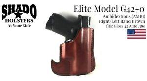 SHADO-Leather-Holster-USA-Elite-Model-G42-0-AMBI-Pocket-Brown-Glock-42-Brand