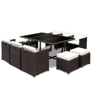 11-PCS-Outdoor-Patio-Dining-Set-Metal-Rattan-Wicker-Furniture-Garden-Cushioned