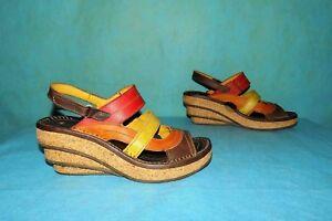 Tres Art Sandales Cuir Fr Compensées État Bon P En 40 0UU6A5x