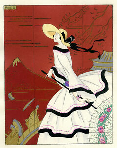 1930s-French-Pochoir-Print-Edouard-Halouze-Art-Deco-European-Fashion-in-Japan