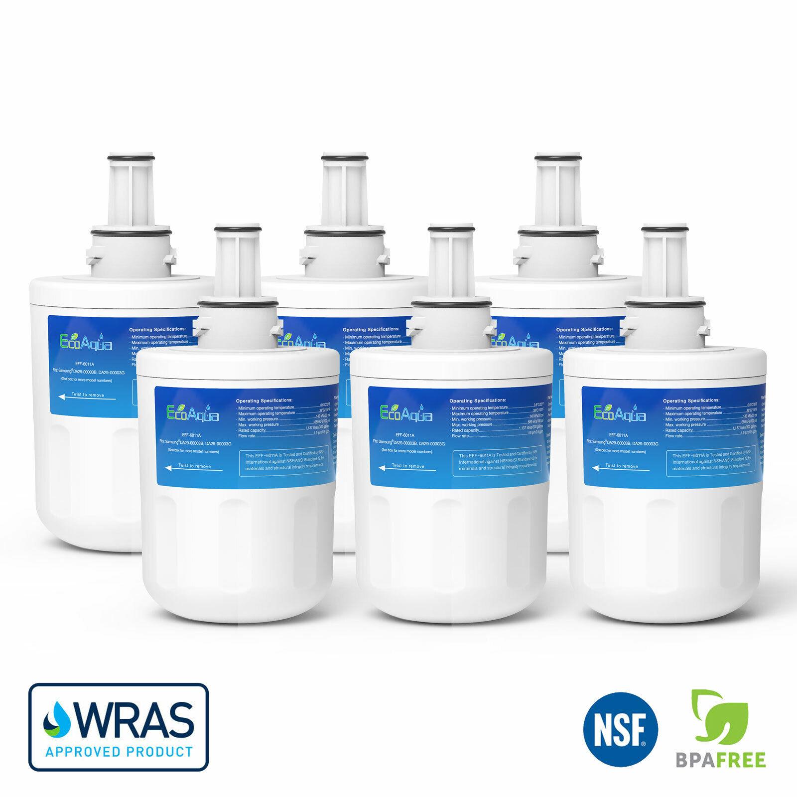 EcoAqua DA97-06317A ICE & eau Réfrigérateur Filtre Pour Samsung Aqua Pure Plus x 6