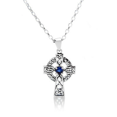 Ehrlichkeit Sapphire Celtic Cross Pendant Sterling Silver 925 Hallmark All Chain Lengths