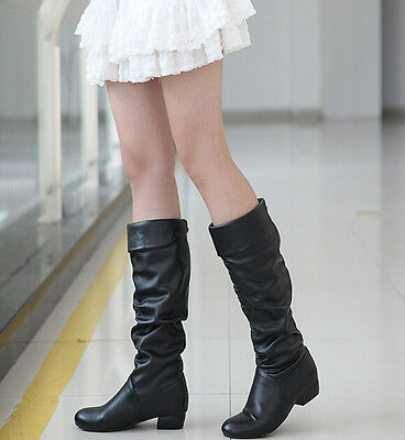 4Y Womens slouchy flat knee high boots slip on shearling lining school shoes