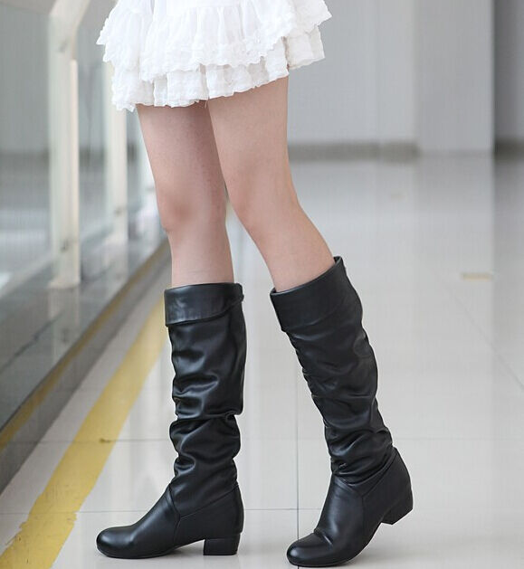 Womens slouchy flat knee high boots slip on shearling lining school shoes 5-10.5