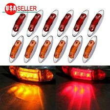 12PCS Amber&Red Side Marker Lights Clearance Lamp Trailer 3LED 12V Waterproof US