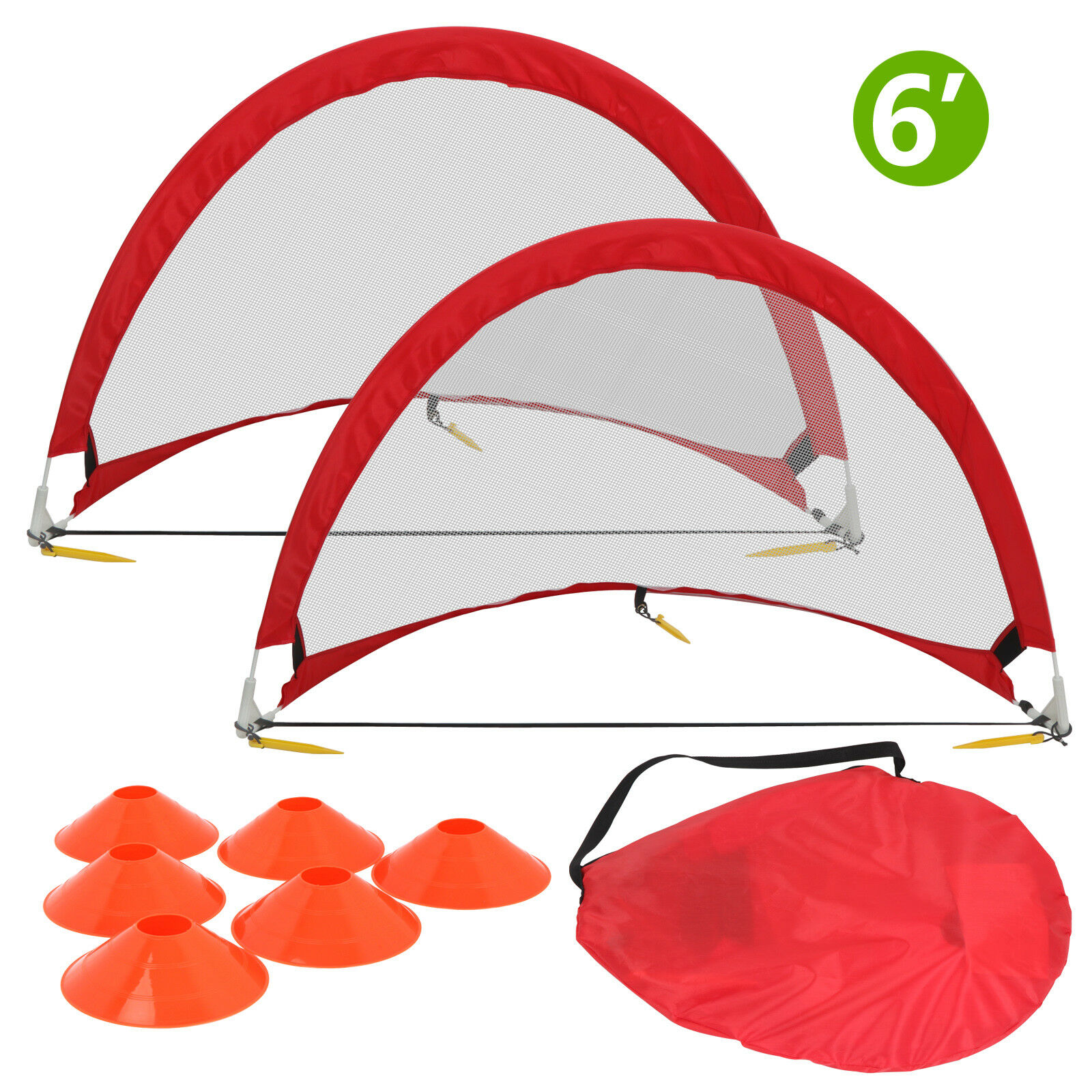 Pop-Up Soccer Goal With Cone, Case - 6 Feet, Red, Pair Of Set In -