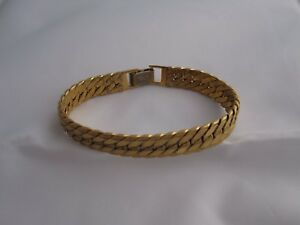 Details About Napier Gold Bracelet Signed Clasp Braided Linked