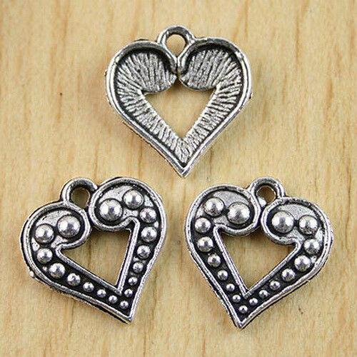 16pcs Tibetan Silver Heart Shape Charms Findings h0902