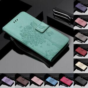 Pour-Motorola-Moto-G7-Z4-P40-Arbre-amp-CHAT-en-Cuir-Flip-Portefeuille-Carte-Etui-Support