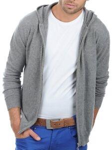 Details zu Balldiri 100% Cashmere Kaschmir Herren Pullover Hoody Sweater Kapuze grau M