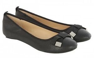 Shoe Flat Box Bow New Round Detail Rrp£25 Jane In Black Size 6 Norman aXqnF4