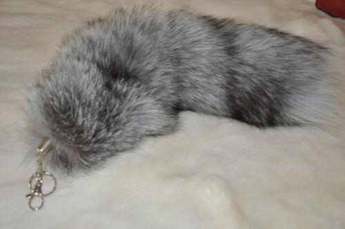 Large Silver Fox Tail Real Fox Fur Tail Keychain Fur Tassel Handbag 40cm//16inch