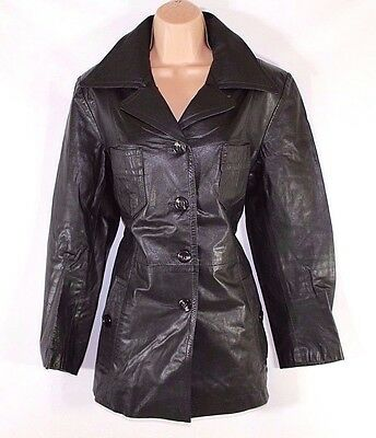 Utile Women's Vintage Malungs Aderente Hip Lunghezza Nero 100% In Pelle Cappotto Giacca Uk14-mostra Il Titolo Originale Senza Ritorno