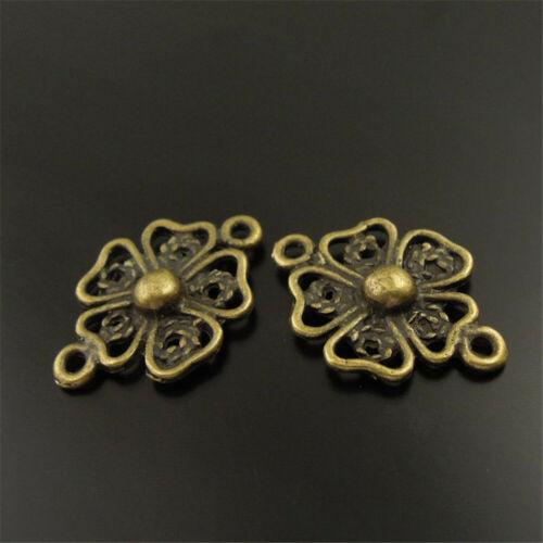 Antique Bronze Flower Connector Alloy Pendant Charms DIY Jewelry  17x17mm 39PCS