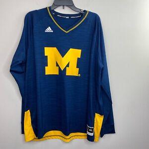 Adidas Basketball Michigan Blue Maize Long Sleeve Jersey Top Mens ...