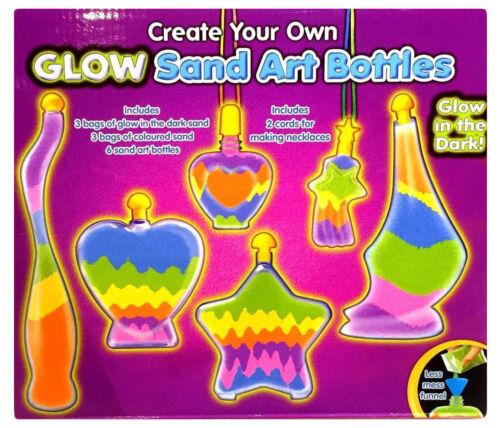 Childrens Bottle Glow Sand Art Set Make Your Own Activity Craft Kit Play Set