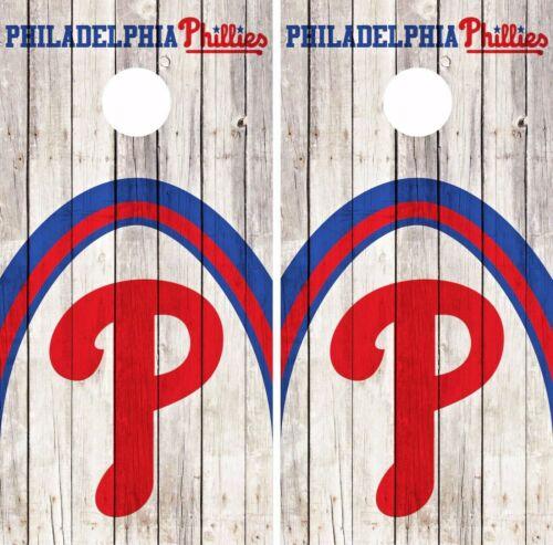 Philadelphia Phillies Cornhole Skin Wrap Baseball Wood Decal Vinyl Sticker DR554