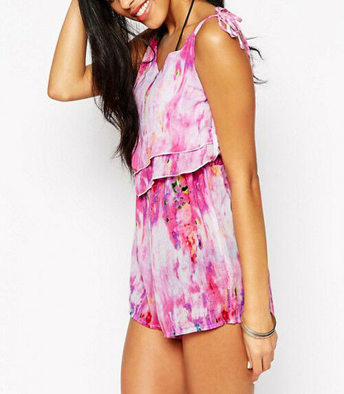 New Lipsy Sexy Playsuit 10 Pink Watercolor Short Sheer Holiday Dress Party Beach