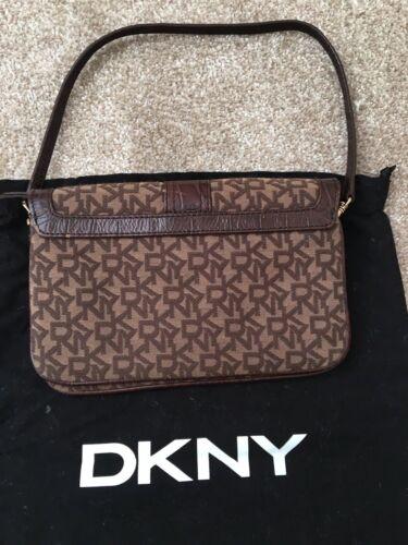 Dkny Brown And Leather Canvas Clutch Genuine Small Logo Bag PqdU15nwxf
