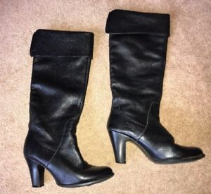 a3bf5da2db7 Details about Sachs London Black Real Leather Knee High Pixie Boots High  Heel Uk 4 EUR 37