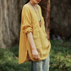 New-Womens-Casual-Tops-Long-Sleeve-Cotton-Linen-Loose-Flax-Tunic-Shirts-Blouses