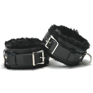 Lockable pv leather fur-lined WRIST CUFFS CU-02-BLA, FREE UK DELIVERY