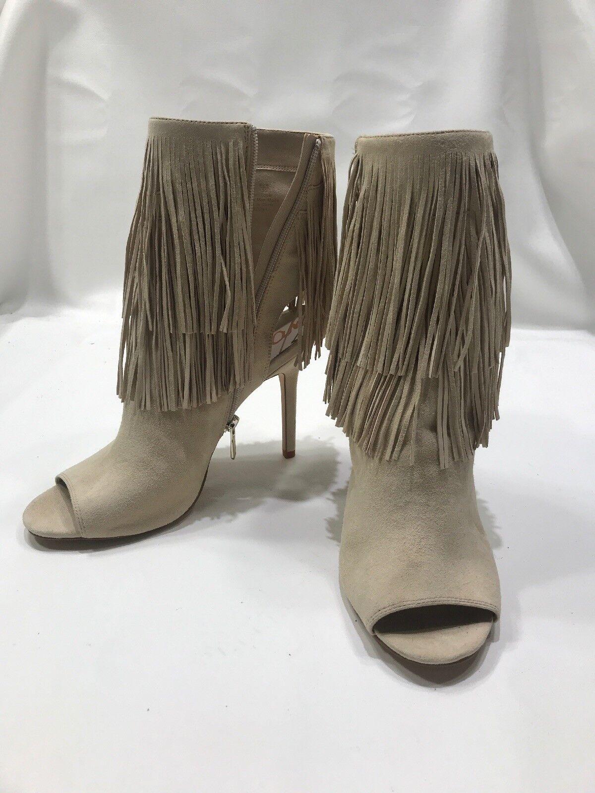 Sam Edelman Talla 9 flecos puntera abierta al al al tobillo Botines Beige botas De Gamuza  marca de lujo