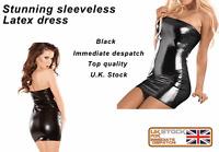 Black Latex glossy Look strapless Mini Dress Sexy Fitted Bandeau fetish clubwear