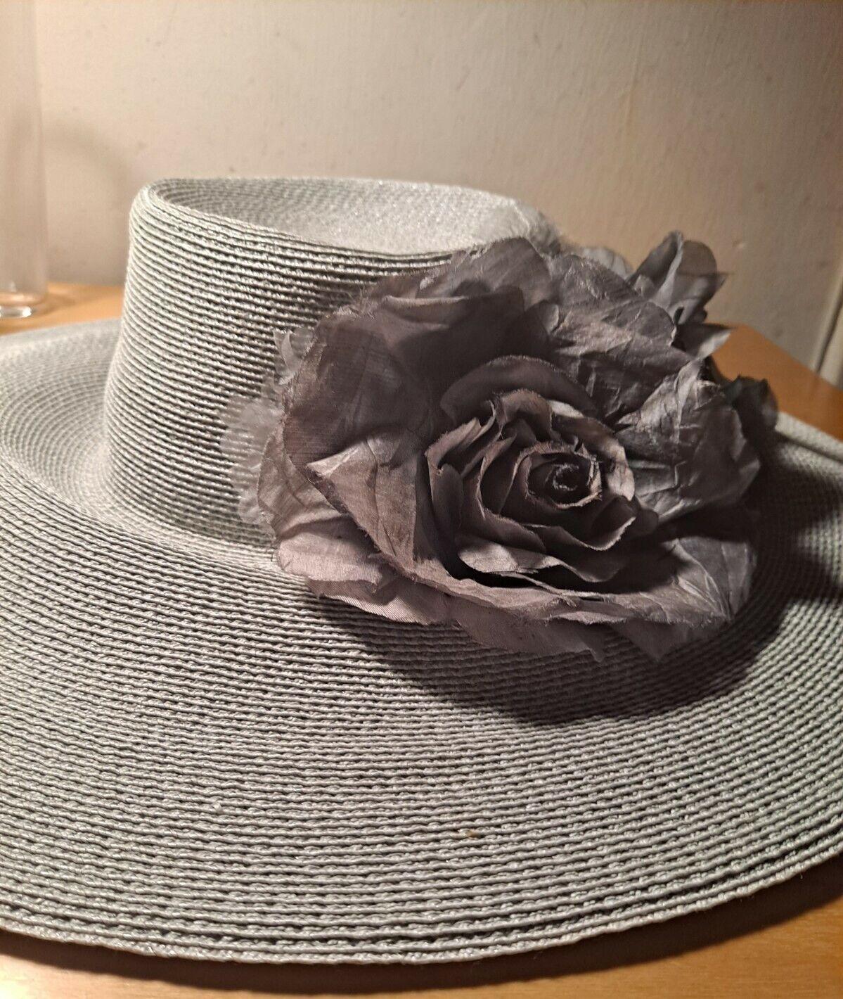 Vtg Patricia Underwood Pale Aqua Straw Hat/Gray S… - image 5
