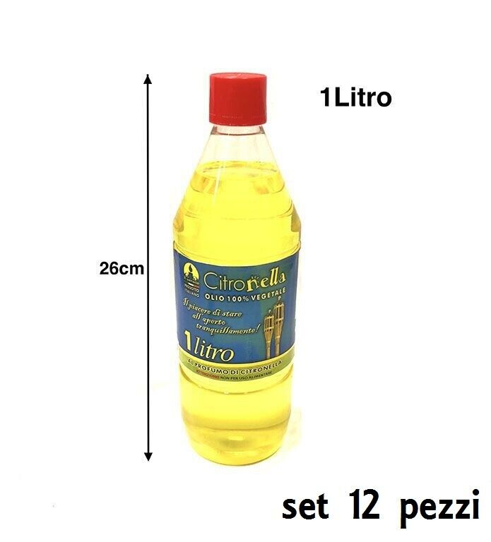 12 Pz Olio Alla Citronella Torce E Lampade Bottiglia 1Lt Fiaccole Zanzare hmj