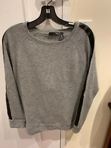 Women-s-AQUA-Cashmere-Gray-Sweater-With-Leather-Detail-Size-L