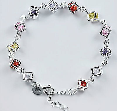 Beautiful Sterling Silver 925 Colourful Bracelet Square Crystal