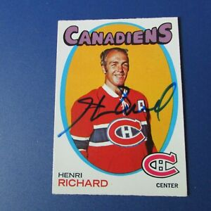 HENRI-RICHARD-1971-72-O-Pee-Chee-120-SIGNED-AUTO-Montreal-Canadiens-OPC-1971