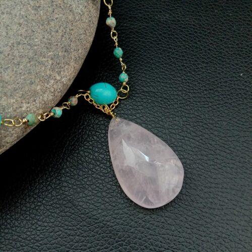 18/'/' 7 Rows Sea Sediment Jasper Pink Crystal Necklace Rose Quartz Pendant