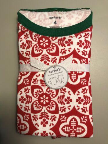 Carter/'s 2-Piece Sleepwear Set Cotton Pajamas Holiday Green Red Sz 18M 4 5T 5