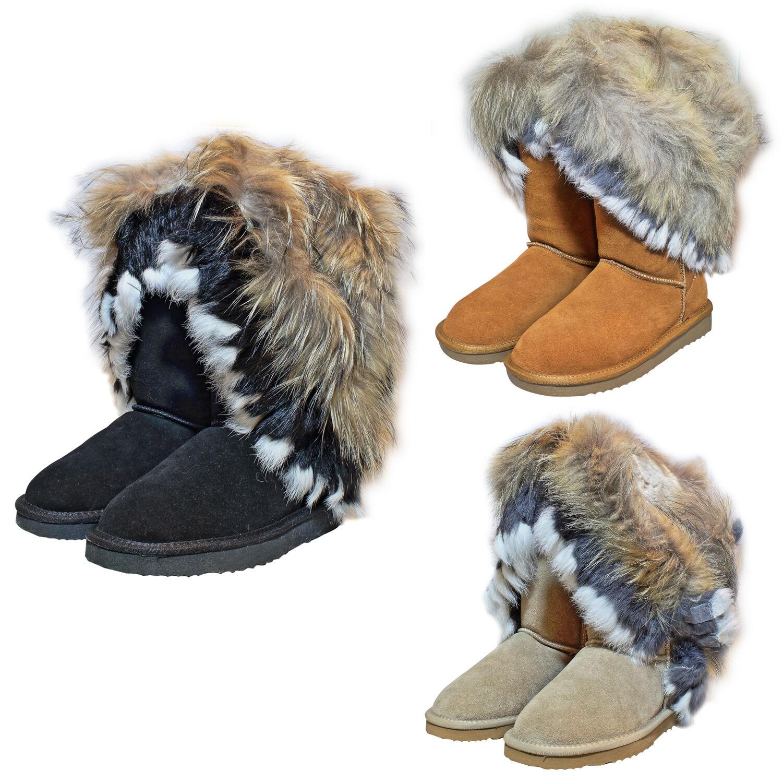 Echt Leder fell Boots Pelz Lang botas zapato señora borla cuero botas de invierno