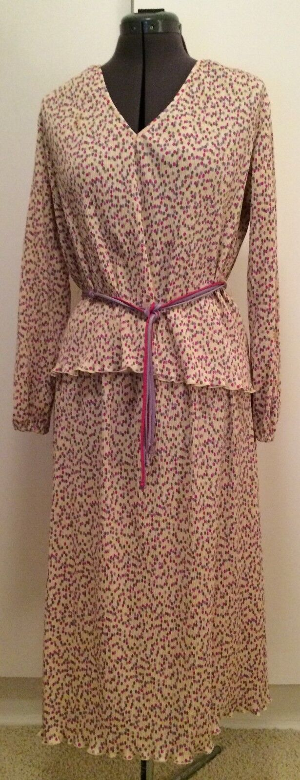Mr. B Vintage Womens Two Piece Polka Dot Pink Purple Blouse Belted Top Skirt