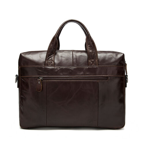 Mens Genuine Soft Leather Business Briefcase Attache Laptop Bag Work Office Bags