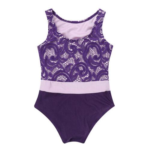 Girls Gymnastics Ballet Dance Wear Lace Leotards Bodysuit Workout Sport Unitards