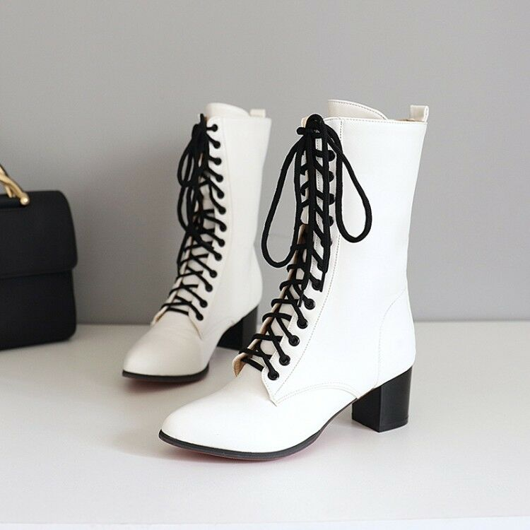 Ladies Lace Up Chunky Heels Military Combat Motorcycle Mid Calf Boots Punk shoes
