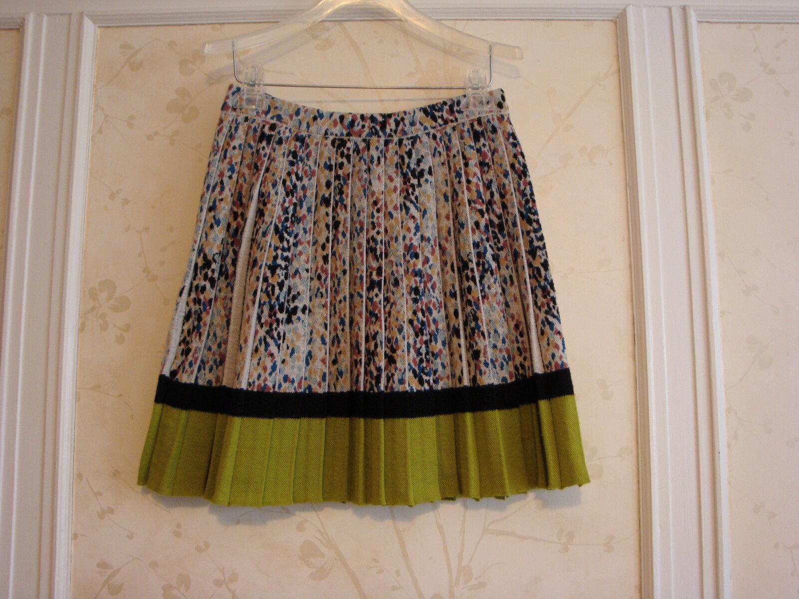 NWT  545 MISSONI  Wool Pleated Skirt 42  8  Made In   Cream  Multi