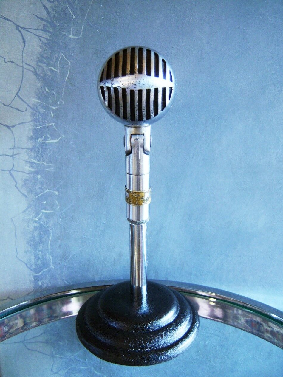 Vintage 1930's RARE Shure Brothers 705A crystal microphone old antique w stand