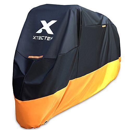 Motorcycle Cover Waterproof Fits 116 inch Tour Bikes Weather XXXL Black /& Orange